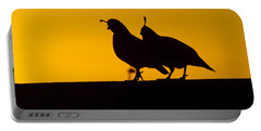 Quail At Sunset Portable Battery Charger by Judi Saunders