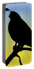 Quail Silhouette At Sunrise Portable Battery Charger