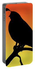 Quail Silhouette At Sunset Portable Battery Charger