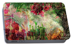 Portable Battery Charger featuring the digital art Qualia's Jungle by Russell Kightley