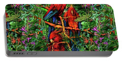 Portable Battery Charger featuring the digital art Qualia's Parrots by Russell Kightley