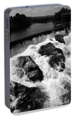 Portable Battery Charger featuring the photograph Quechee, Vermont - Falls 2 Bw by Frank Romeo