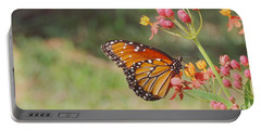 Queen Butterfly On Milkweed Portable Battery Charger by Jayne Wilson
