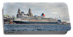 Queen Elizabeth Cruise Ship At Liverpool Portable Battery Charger