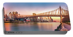 Queensboro Bridge At Sunset Portable Battery Charger by Mihai Andritoiu