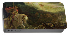 Quest For The Holy Grail Portable Battery Charger by Arthur Hughes