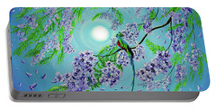 Quetzal Bird In Jacaranda Tree Portable Battery Charger