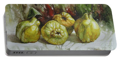 Portable Battery Charger featuring the painting Quinces by Elena Oleniuc
