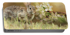 Eastern Cottontail Rabbit In Grass Portable Battery Charger