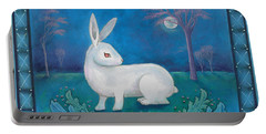 Portable Battery Charger featuring the painting Rabbit Secrets by Terry Webb Harshman