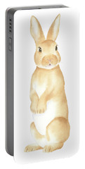 Portable Battery Charger featuring the painting Rabbit Watercolor by Taylan Apukovska