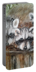 Portable Battery Charger featuring the painting Raccoon Babies By Christine Lites by Allen Sheffield