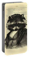 Raccoon Portrait, Animals In Clothes Portable Battery Charger by Madame Memento