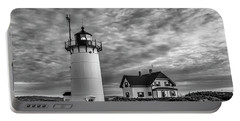 Race Point Lighthouse Sunset Bw Portable Battery Charger
