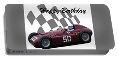 Racing Car Birthday Card 1 Portable Battery Charger by John Colley