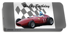 Racing Car Birthday Card 2 Portable Battery Charger by John Colley
