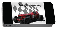 Racing Car Birthday Card 3 Portable Battery Charger by John Colley