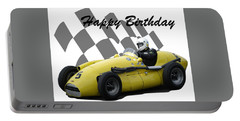 Racing Car Birthday Card 4 Portable Battery Charger by John Colley