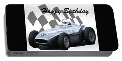 Racing Car Birthday Card 7 Portable Battery Charger by John Colley