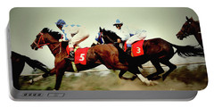 Racing Horses Neck To Neck In Competition Portable Battery Charger