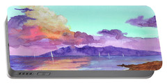 Portable Battery Charger featuring the painting Racing Sailboats by Darice Machel McGuire