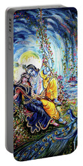 Radha Krishna Jhoola Leela Portable Battery Charger by Harsh Malik