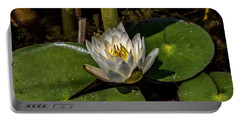 Radiant White Pond Lily  Portable Battery Charger