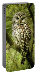 Radiating Barred Owl Portable Battery Charger by Jean Noren