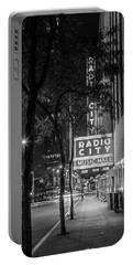 Radio City Music Hall Black And White With Trees Portable Battery Charger