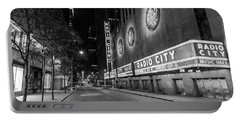 Radio City Music Hall Nyc Black And White  Portable Battery Charger by John McGraw