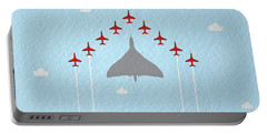 Raf Red Arrows In Formation With Vulcan Bomber Portable Battery Charger