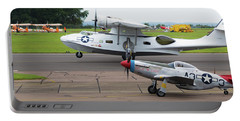 Raf Scampton 2017 - P-51 Mustang With Pby-5a Landing Portable Battery Charger