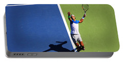 Rafeal Nadal Tennis Serve Portable Battery Charger by Nishanth Gopinathan