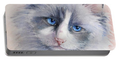 Portable Battery Charger featuring the painting Ragdoll Cat by Bonnie Rinier