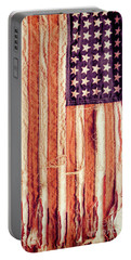Portable Battery Charger featuring the photograph Ragged American Flag by Jill Battaglia