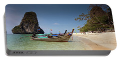 Railay Beach, Phra Nang Beach, Long-tail Boat And Cliff Portable Battery Charger