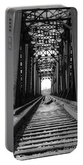 Railroad Bridge Black And White Portable Battery Charger