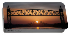 Railroad Bridge Framing The Bourne Bridge During A Sunrise Portable Battery Charger
