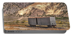 Railroad Car In A Beautiful Setting Portable Battery Charger