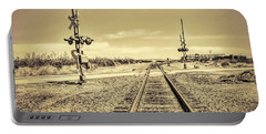 Railroad Crossing Textured Portable Battery Charger