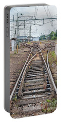 Portable Battery Charger featuring the photograph Railroad Tracks And Junctions by Antony McAulay