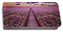 Railway In A Purple Tulip Field Portable Battery Charger