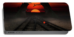 Railway To The Sunset Portable Battery Charger by Mihaela Pater