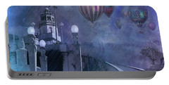 Portable Battery Charger featuring the digital art Rain And Balloons At Hearst Castle by Jeff Burgess