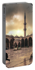 Rain At The Blue Mosque Portable Battery Charger