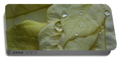 Rain Drops On A  White Poinsettia Portable Battery Charger