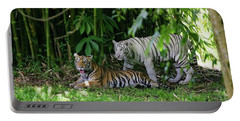 Portable Battery Charger featuring the photograph Rain Forest Tigers by Anthony Jones