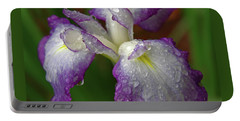 Rain-soaked Iris Portable Battery Charger by Marie Hicks