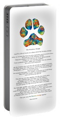 Rainbow Bridge Poem With Colorful Paw Print By Sharon Cummings Portable Battery Charger