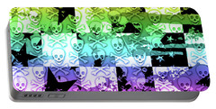 Rainbow Checker Skull Splatter Portable Battery Charger by Roseanne Jones